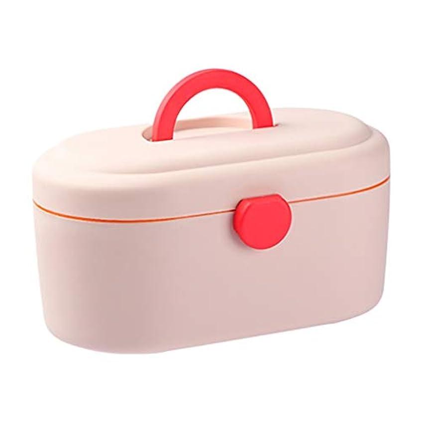 スピーカーマディソン定説WXYXG 家庭用薬箱大容量プラスチック携帯用薬収納ボックス家庭用薬箱多層外来応急処置キット (Color : Pink, Size : 27cm×15cm×14.5cm)