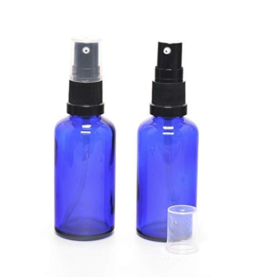 イタリアのクリープメロン遮光瓶 (硝子)ポンプボトル 50ml (フィンガープッシュタイプ) / 2本セット (ブルー?ブラックヘッド)
