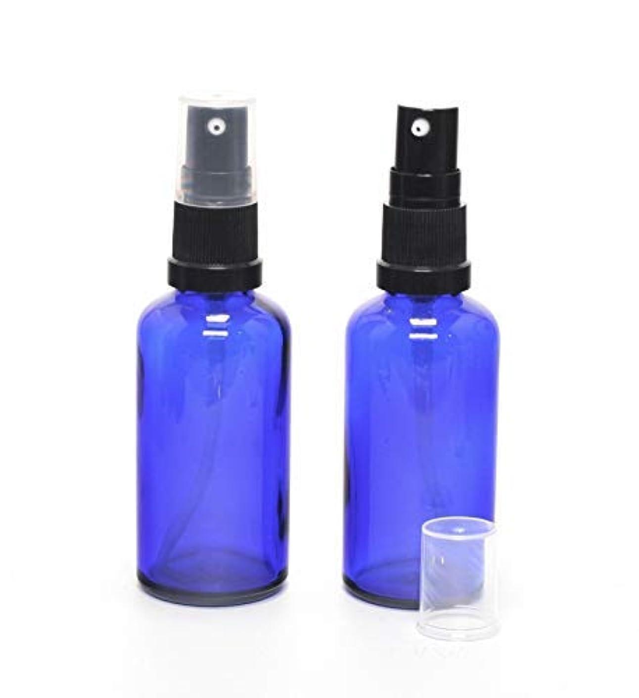 正確な考えしなければならない遮光瓶 (硝子)ポンプボトル 50ml (フィンガープッシュタイプ) / 2本セット (ブルー?ブラックヘッド)