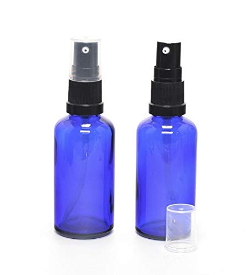 勝利も刺激する遮光瓶 (硝子)ポンプボトル 50ml (フィンガープッシュタイプ) / 2本セット (ブルー?ブラックヘッド)