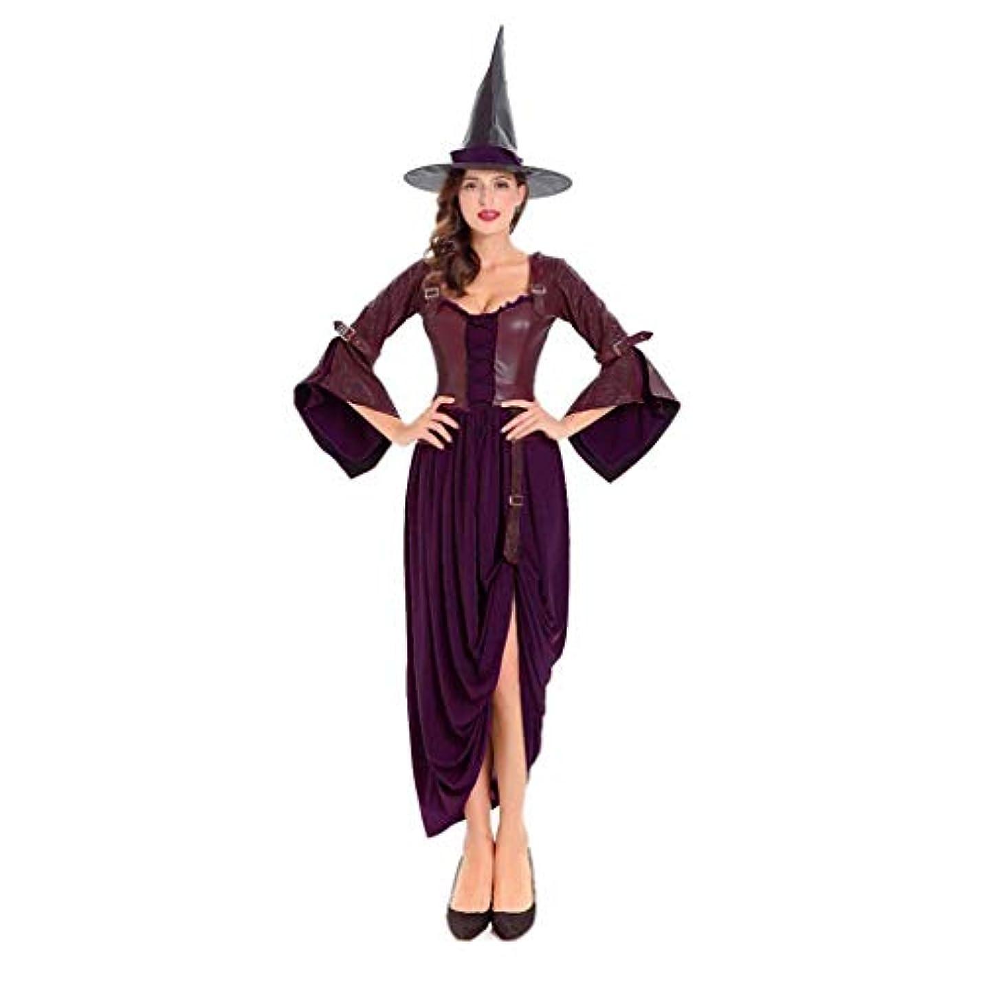洗剤テープ赤外線SHWSM ハロウィーンコスチュームパーティー、帽子、コスチュームを含む美しい茶色の魔女のロールプレイ、さまざまなテーマパーティー(160cm-175cm)