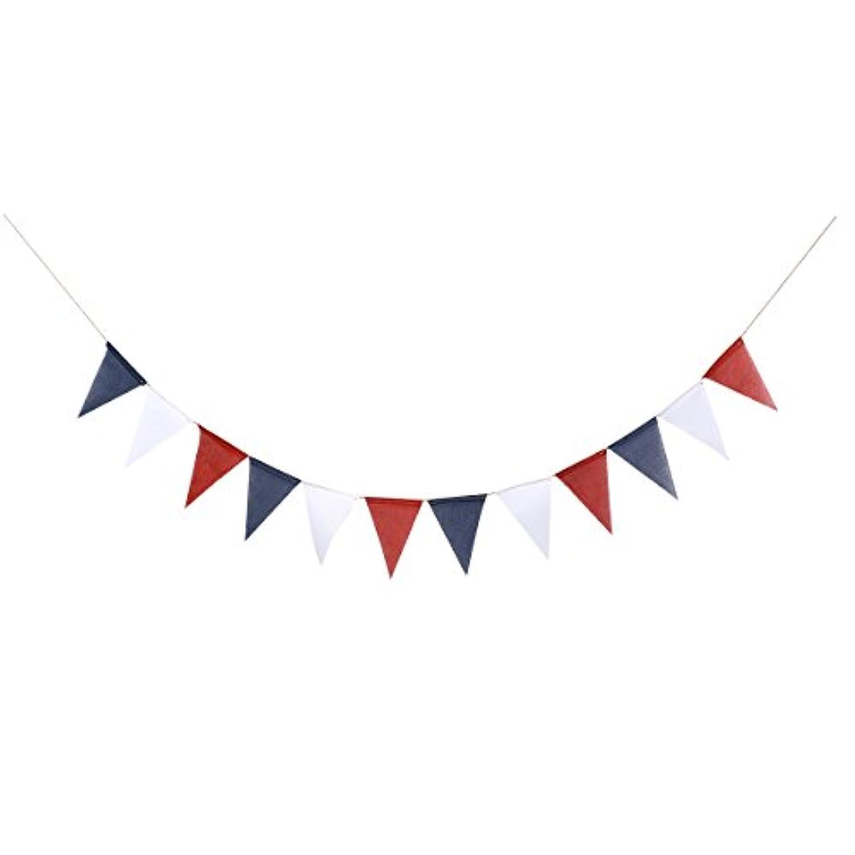 LUoem 4th of JulyホオジロバナーAmerican黄麻布バナーHangingペナントバナーガーランドNational日装飾用(レッドブルーホワイト)