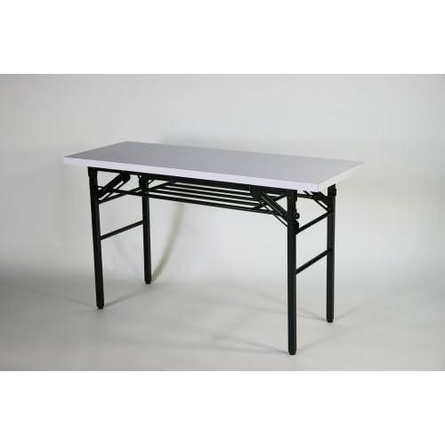 ■棚付き■折りたたみ 折畳み 会議テーブル 会議用テーブル ミーティングテーブル 高脚■120x45x70cm■7651S-wh