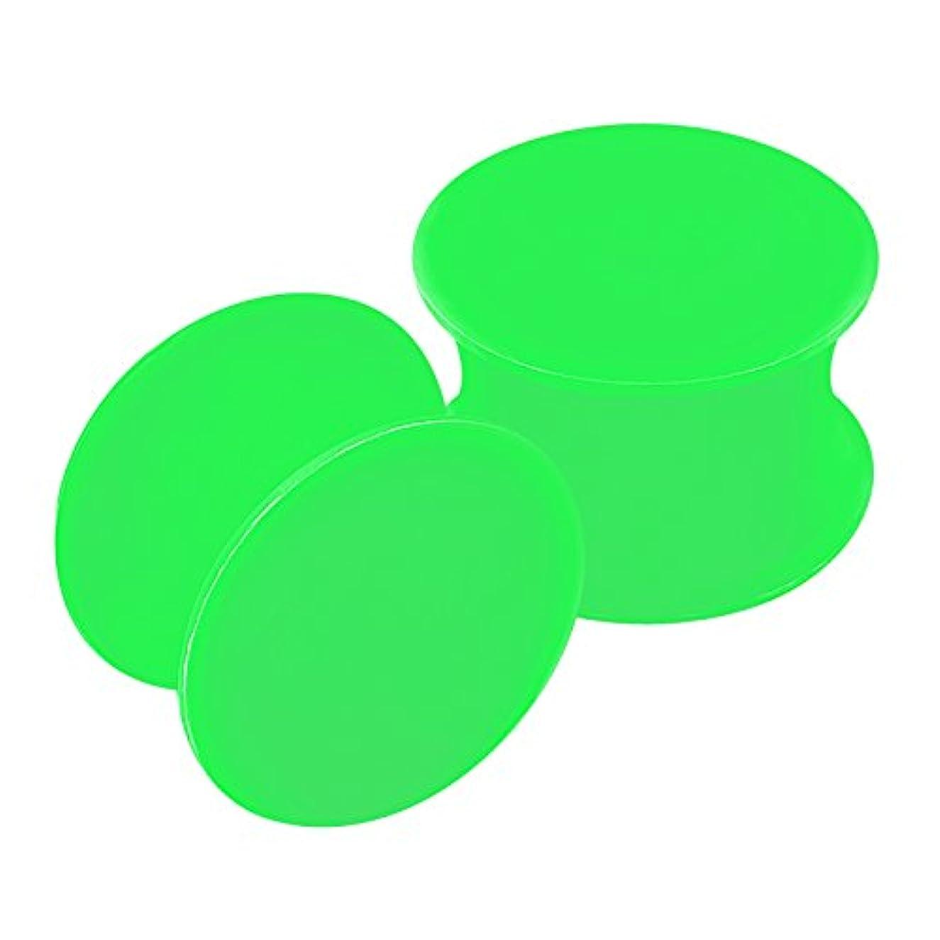 風邪をひく連帯寛大さ2pcsシリコングリーンダブルフレアサドルforストレッチャーイヤーゲージプラグイヤリングLobeピアスジュエリー選択サイズ