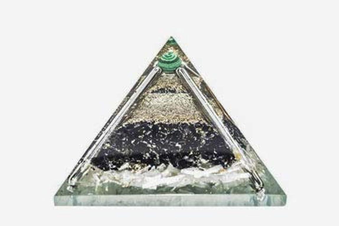 ブリッジケニア首尾一貫したcrocon Exclusive砂漠のブラックトルマリンOrgone Pyramid with Green MalachiteボールエネルギージェネレータレイキHealingオーラクレンジング& EMFの保護サイズ: 2.5...