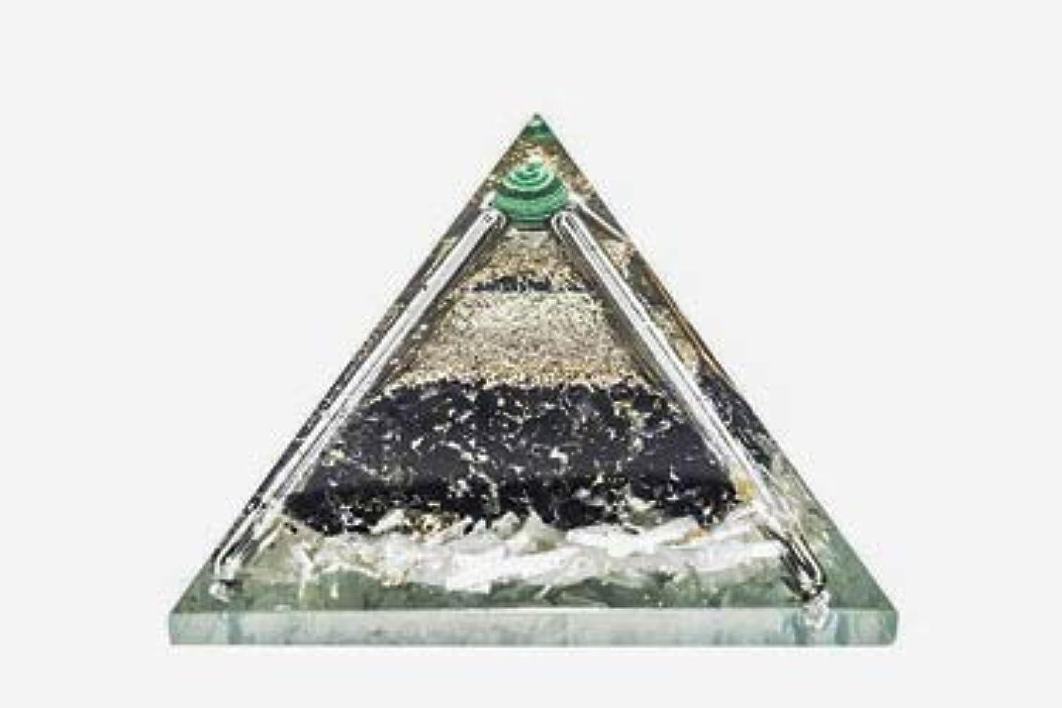 コンデンサー背骨実現可能crocon Exclusive砂漠のブラックトルマリンOrgone Pyramid with Green MalachiteボールエネルギージェネレータレイキHealingオーラクレンジング& EMFの保護サイズ: 2.5...