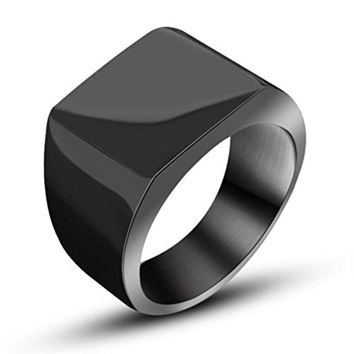 トランザクション無一文一見寛大なファッションシンプルでワイドフェイスリングチタンリングハンサムメンズリングワイドサーフェスリングメンズ-ブラック#12
