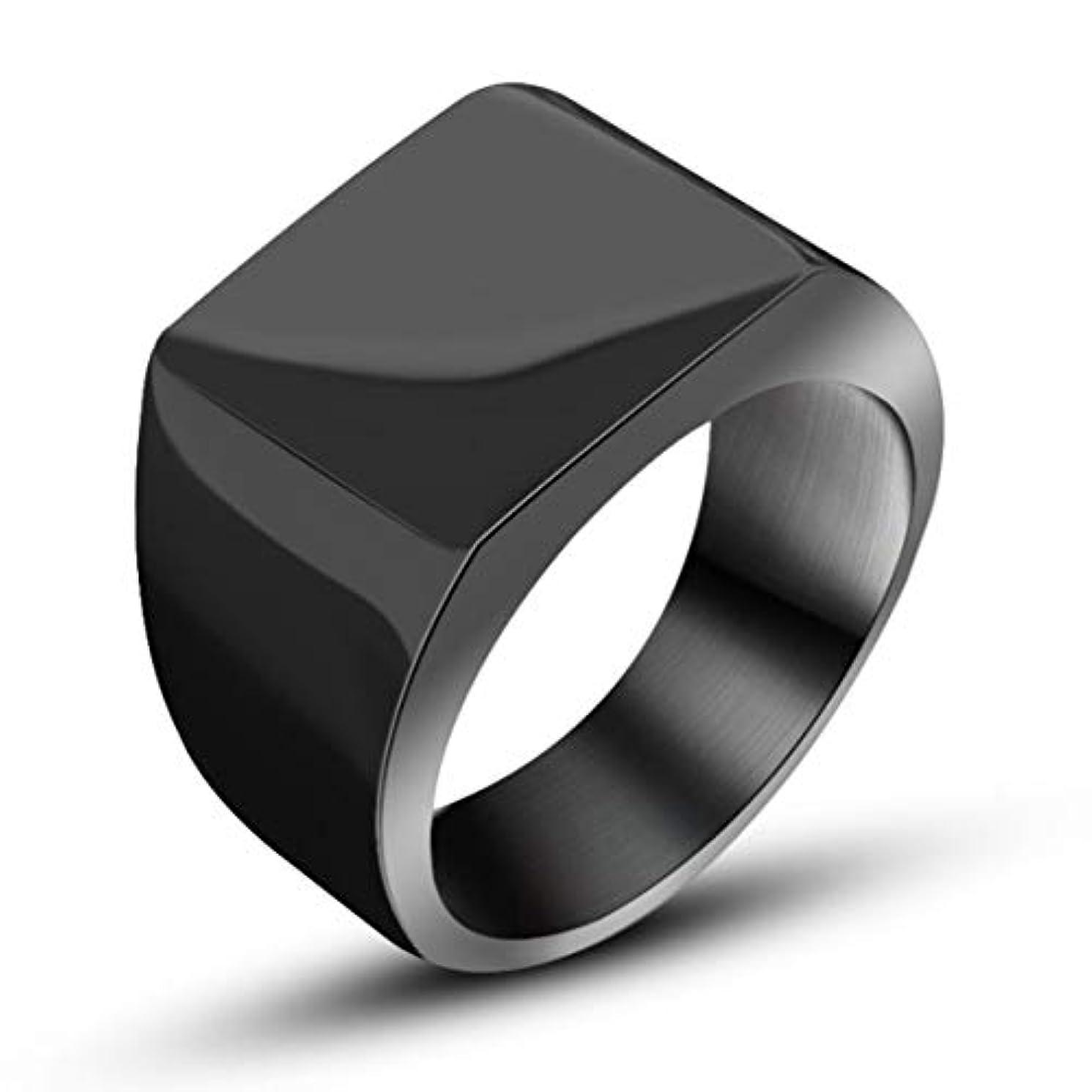 排除する協力的ミケランジェロ寛大なファッションシンプルでワイドフェイスリングチタンリングハンサムメンズリングワイドサーフェスリングメンズ-ブラック#12