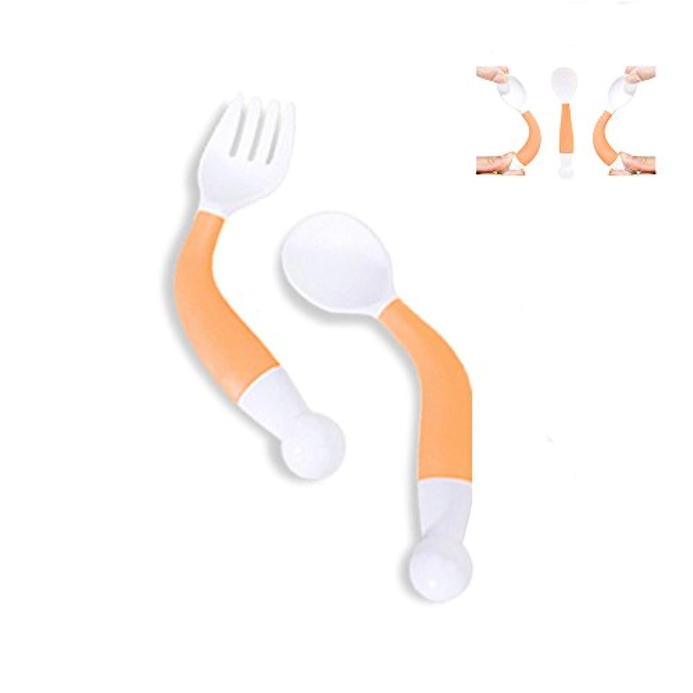 Baby Feeding曲線ハンドルスプーンフォークセットUtensilトレーニング、子供BPAフリーテーブルウェアFlatware in Assorted Colors オレンジ