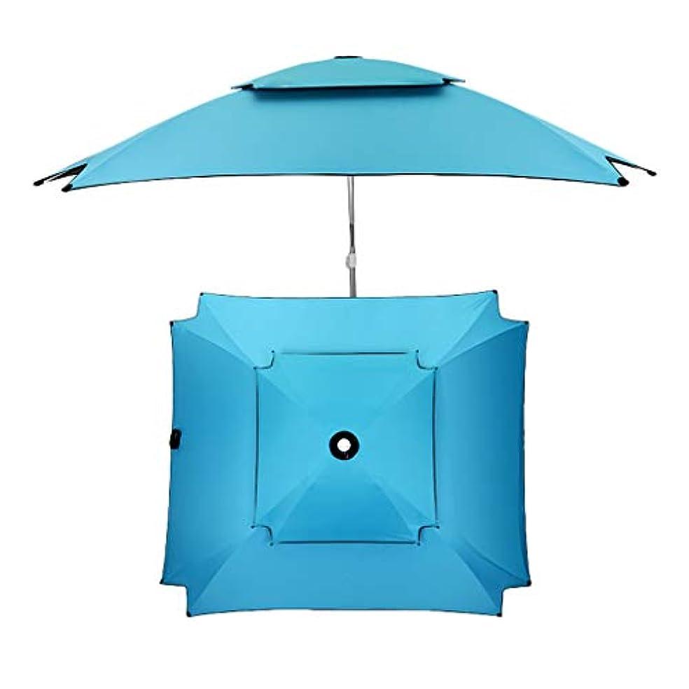 保証する脚本家巨大太陽傘アルミ合金オックスフォード回転日焼け止め雨折りたたみ傘屋外サンシェード傘 (Color : Blue)