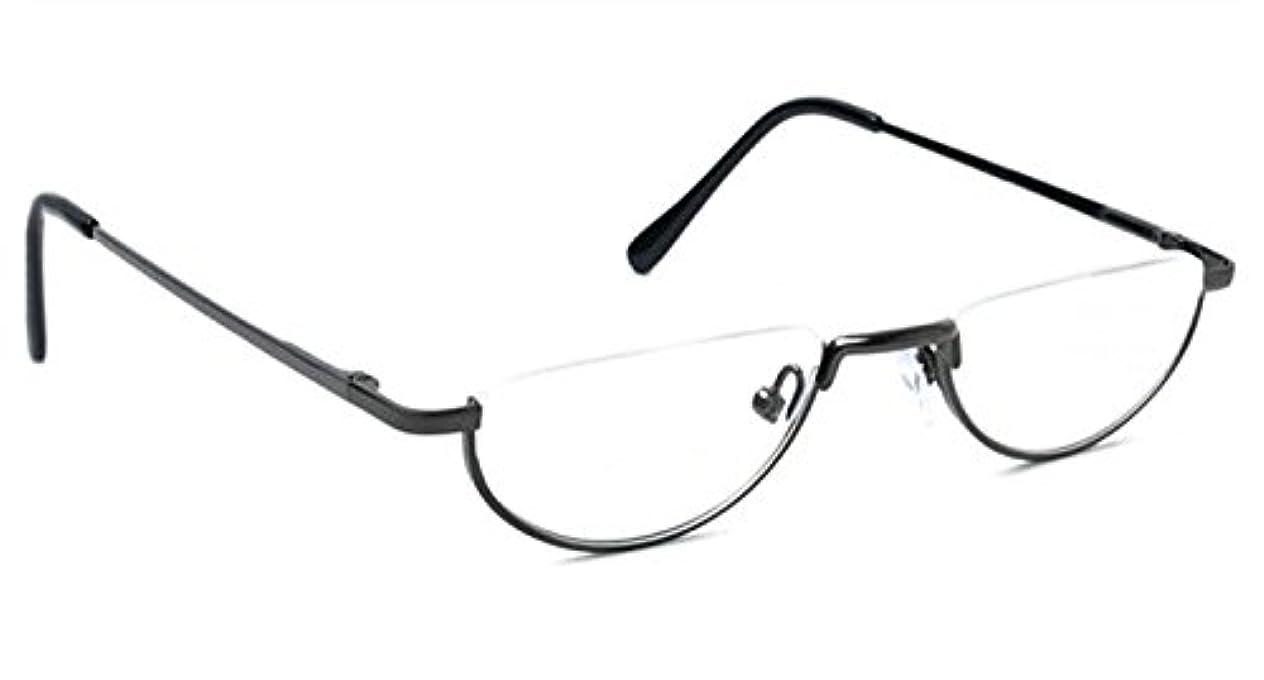 読みやすい瞑想的奇妙な(イェーガー)Agstum 半月 ハーフリム 老眼鏡 レディース メンズ バネ蝶番 楕円形 リーディンググラス (+1.75, グレー)