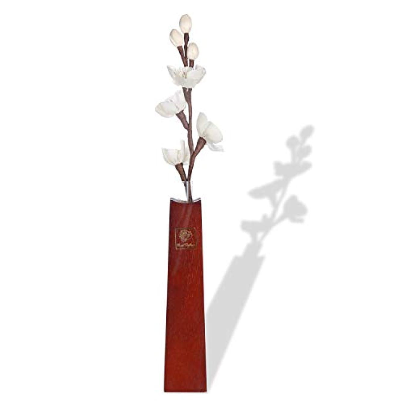 プレゼンター不明瞭年金ルームフレグランス リードディフューザー 和風純木フラワーベース アロマ花瓶 と 一輪挿し紙製造花 (香料を含まない)