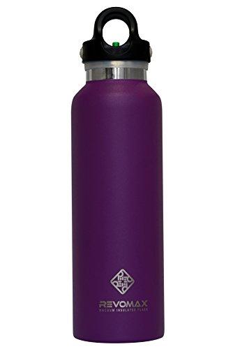 RevoMax おしゃれ ウォーターボトル Water Bottle 真空断熱 ステンレス 魔法瓶 今までに無かった蓋ワンタッチ開閉式! アメリカで大人気! (20OZ(592ml), Lilac Purple)