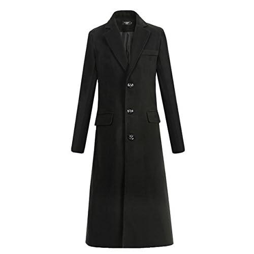 [RSWHYY] メンズ ロング コート ブラック XL
