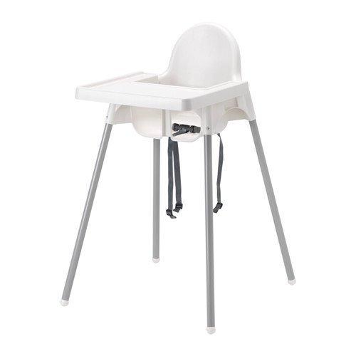 IKEA(イケア) ANTILOP ハイチェア トレイ付き, シルバーカラー (49067485) (490.674.85)