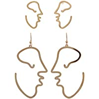Davana Enterprises Gold Tone Abstract Human Face Outline Earrings (Two Pairs- Drop and Dangle)