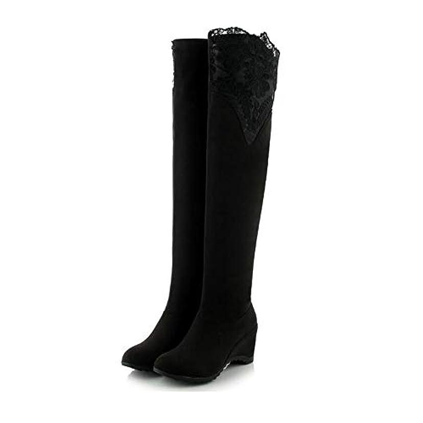 狐均等に曲線新しい女性のロングブーツ、快適なセクシーな膝のストレッチブーツロングブーツ、暖かい騎士ブーツを守るパーティー&イブニング (色 : ブラック, サイズ : 34)