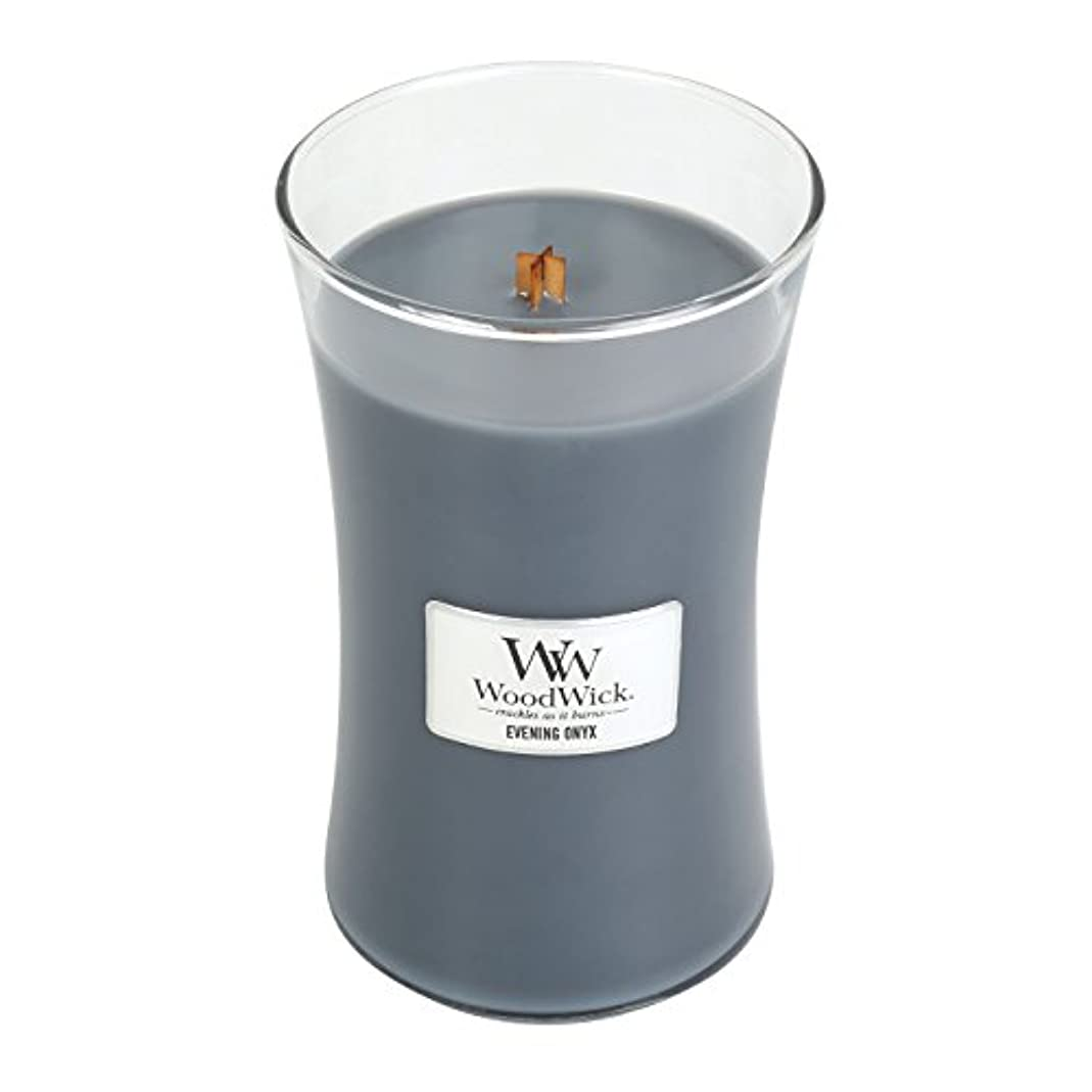 推進追放する移動WoodWick EVENING ONYX, Highly Scented Candle, Classic Hourglass Jar, Large 18cm, 640ml