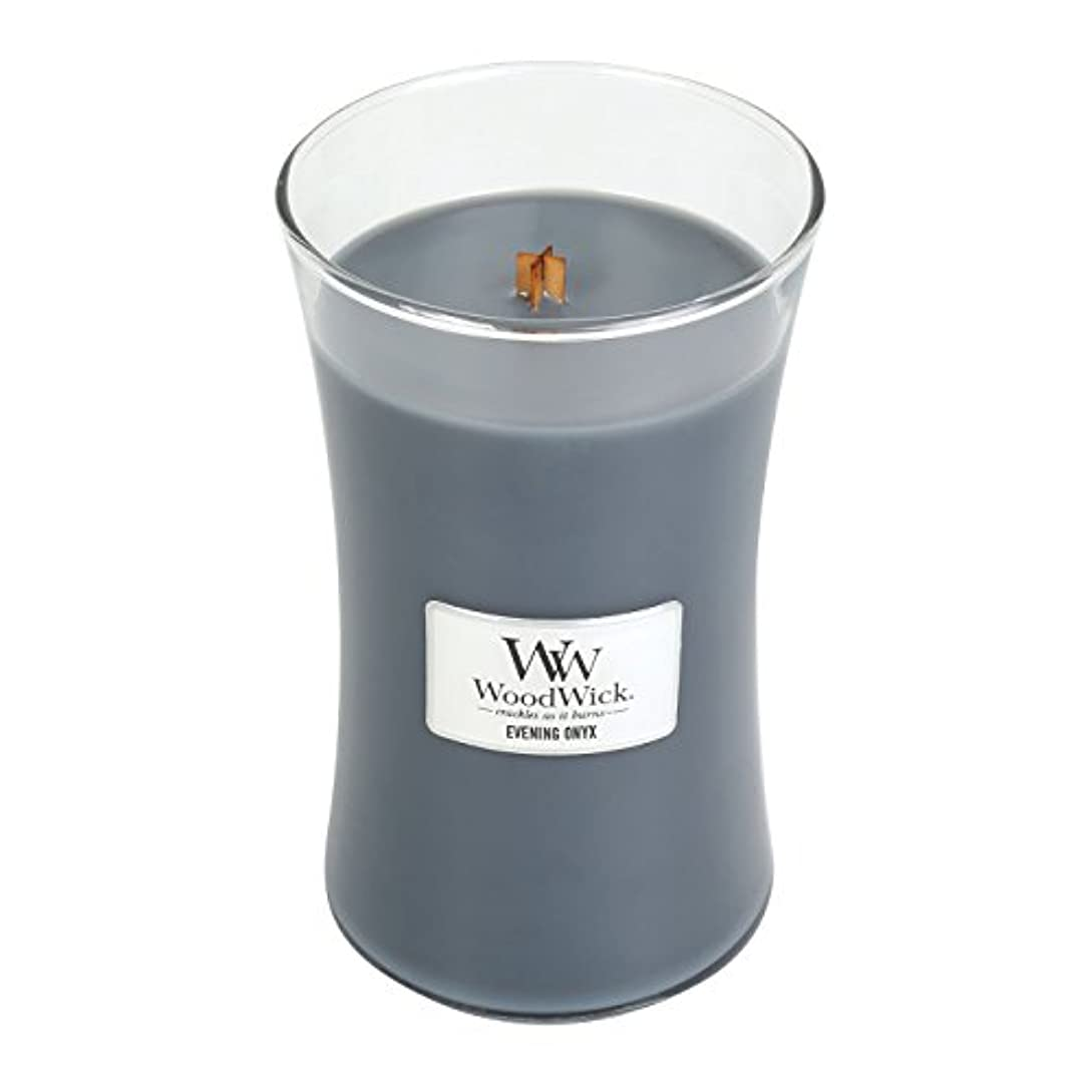血色の良い領域マイクWoodWick EVENING ONYX, Highly Scented Candle, Classic Hourglass Jar, Large 18cm, 640ml
