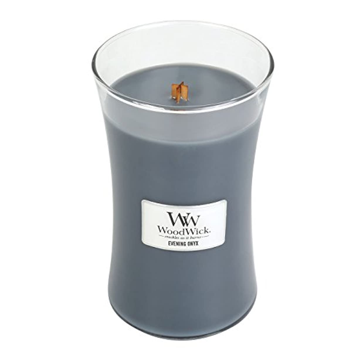膿瘍ヒゲクジラすすり泣きWoodWick EVENING ONYX, Highly Scented Candle, Classic Hourglass Jar, Large 18cm, 640ml