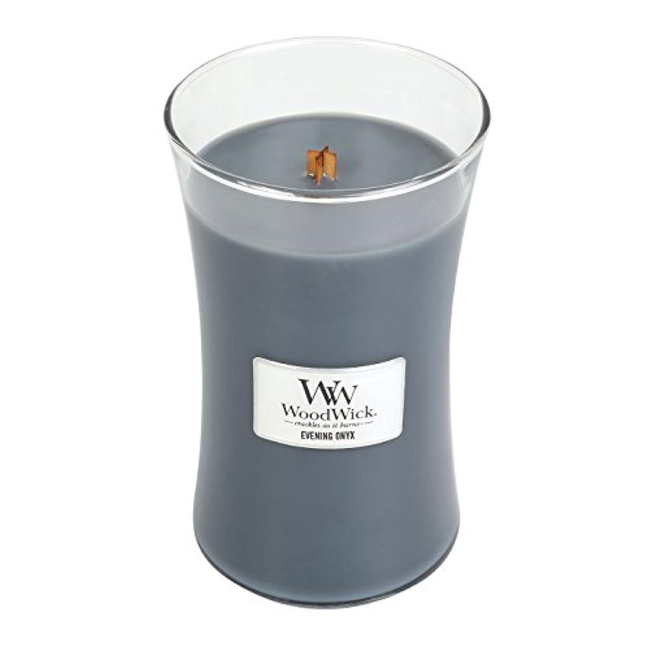 掃く崖微弱WoodWick EVENING ONYX, Highly Scented Candle, Classic Hourglass Jar, Large 18cm, 640ml