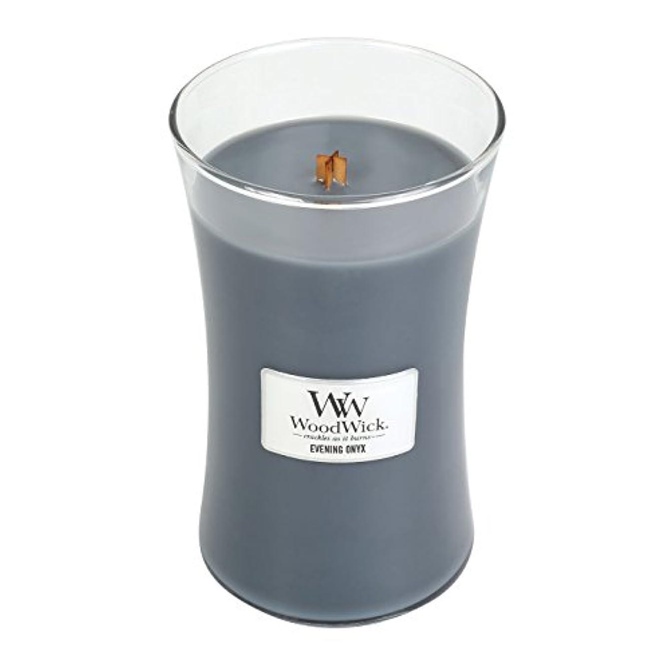 通常調和歪めるWoodWick EVENING ONYX, Highly Scented Candle, Classic Hourglass Jar, Large 18cm, 640ml