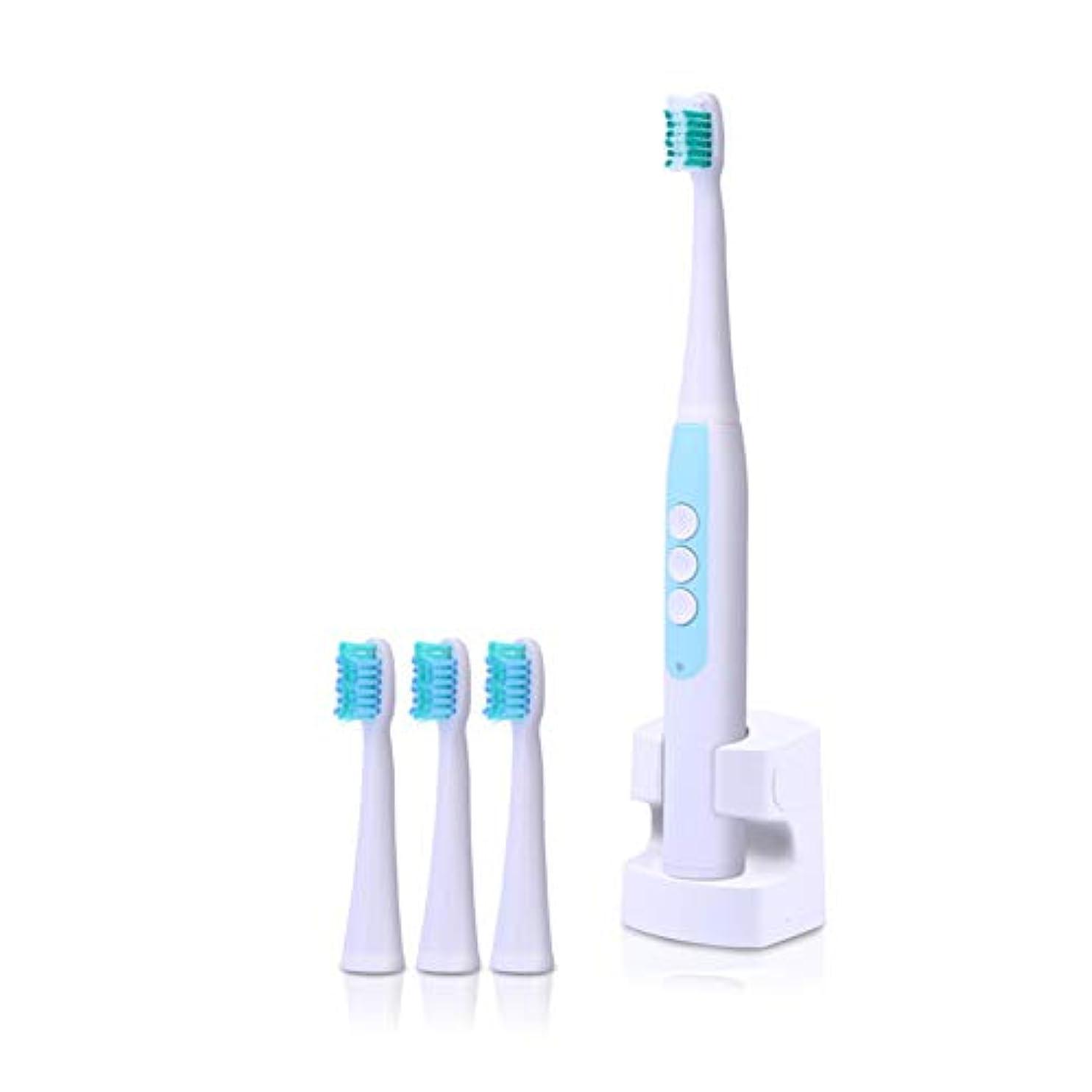 ターミナル回転成熟した音波電動歯ブラシ防水ワイヤレス充電式4ピース交換可能なブラシヘッドタイマー歯歯ブラシオーラルケア大人用,Blue