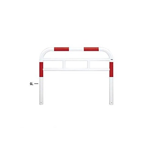 HT54223 直送 スチール製バリカー 横型・コノ字型・アーチ型・U字型車止めポール(スタンダードタイプ) φ76.3xt3.2 W1500 H750(mm) 赤白色