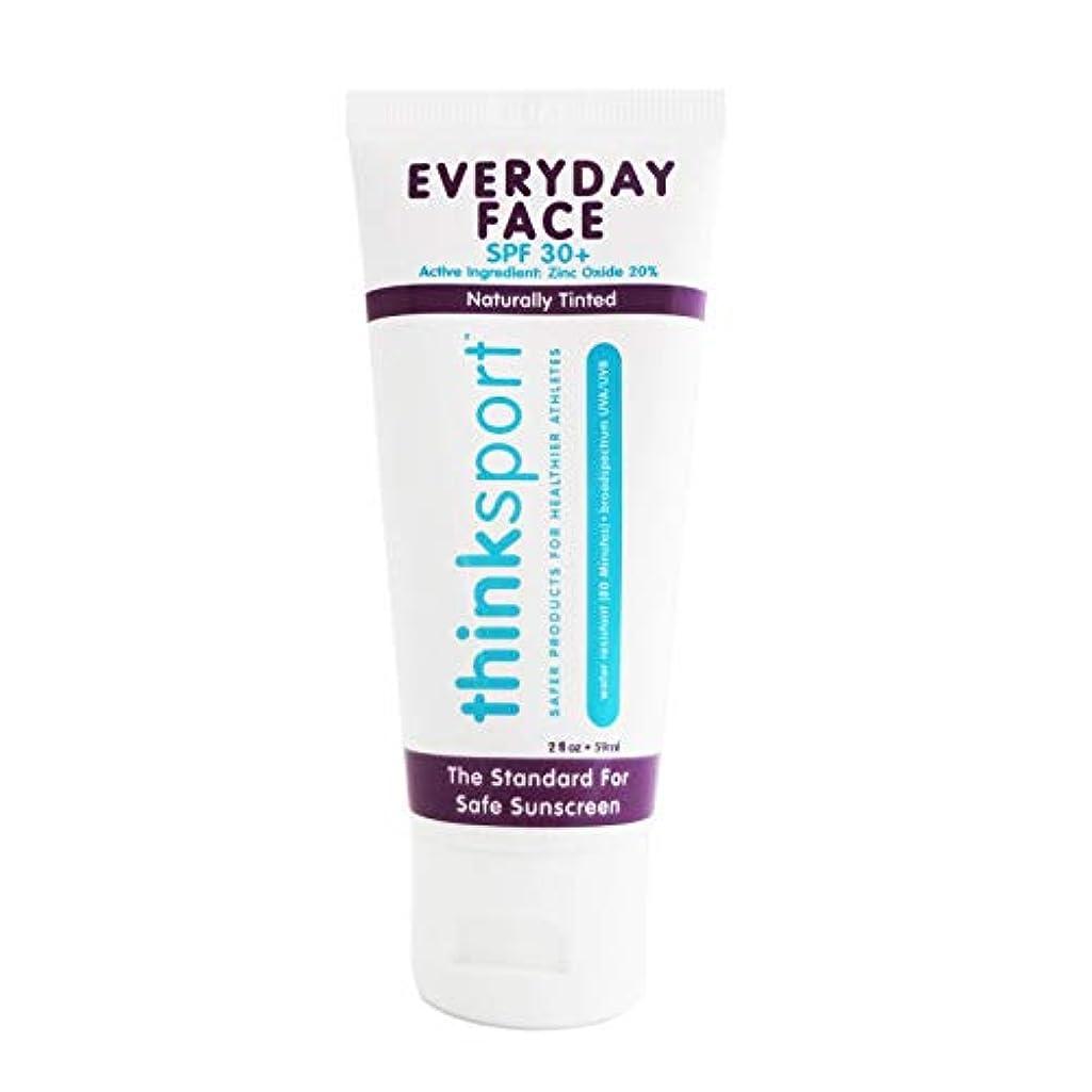 曲線被る存在するThinksport エブリデーフェイスサンスクリーン ナチュラルティント 59 ml 毎日のお顔用日焼け止め 自然な肌色