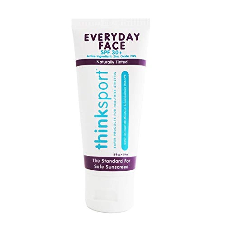 小麦粉専らフォーマットThinksport エブリデーフェイスサンスクリーン ナチュラルティント 59 ml 毎日のお顔用日焼け止め 自然な肌色
