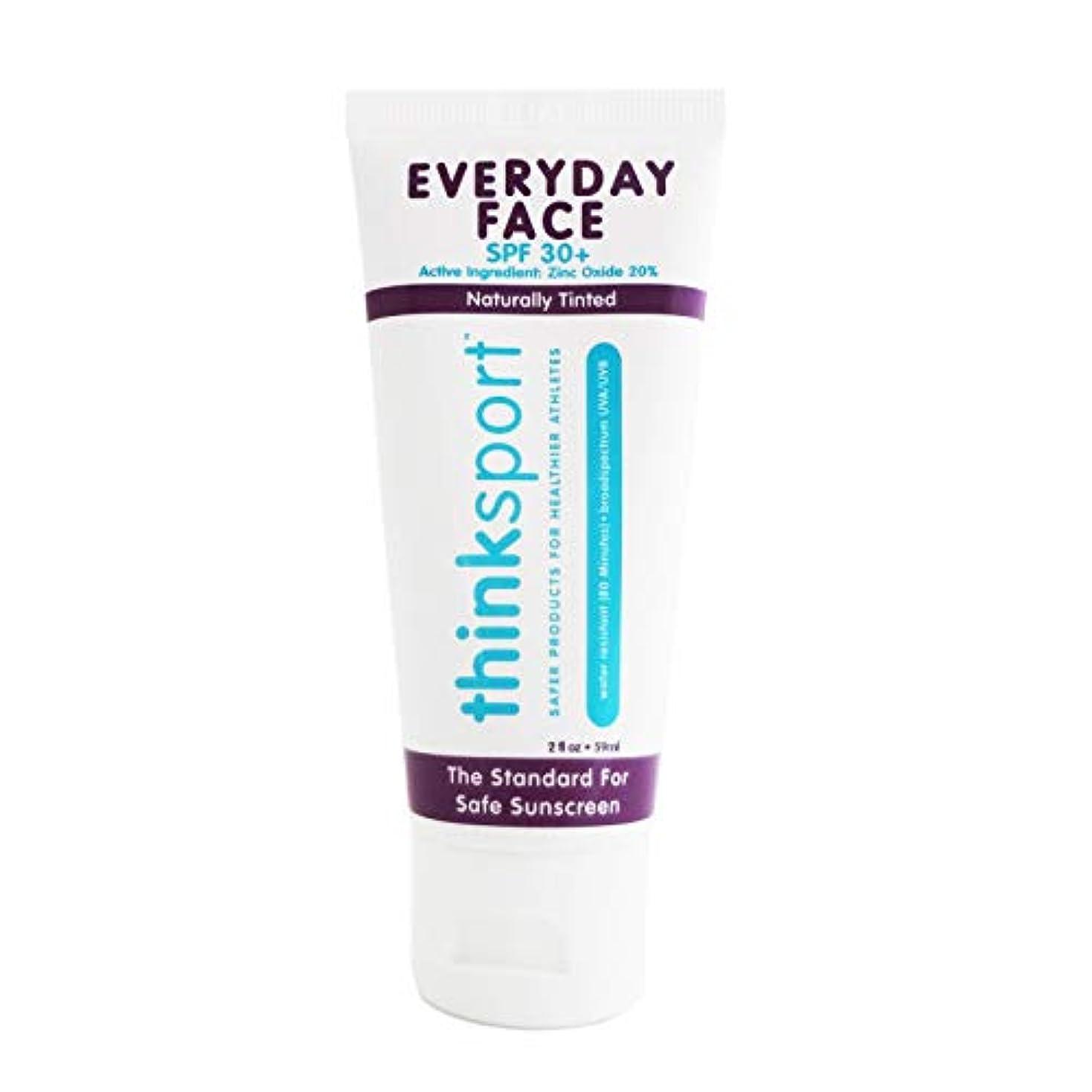 無力準備した検出可能Thinksport エブリデーフェイスサンスクリーン ナチュラルティント 59 ml 毎日のお顔用日焼け止め 自然な肌色