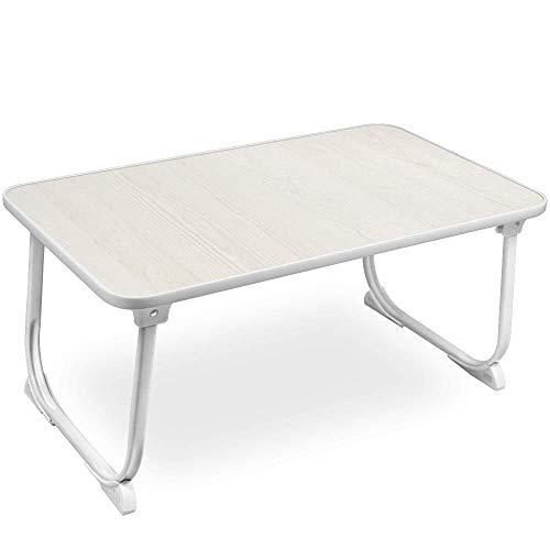 SunBroy 折れ脚 ローテーブル 折りたたみテーブル ちゃぶ台 折り畳みテーブル 座卓 トレーテーブル キャンプテー ブル PCデスク 58×34×27 軽量 コンパクト ナチュラル (ホワイト)