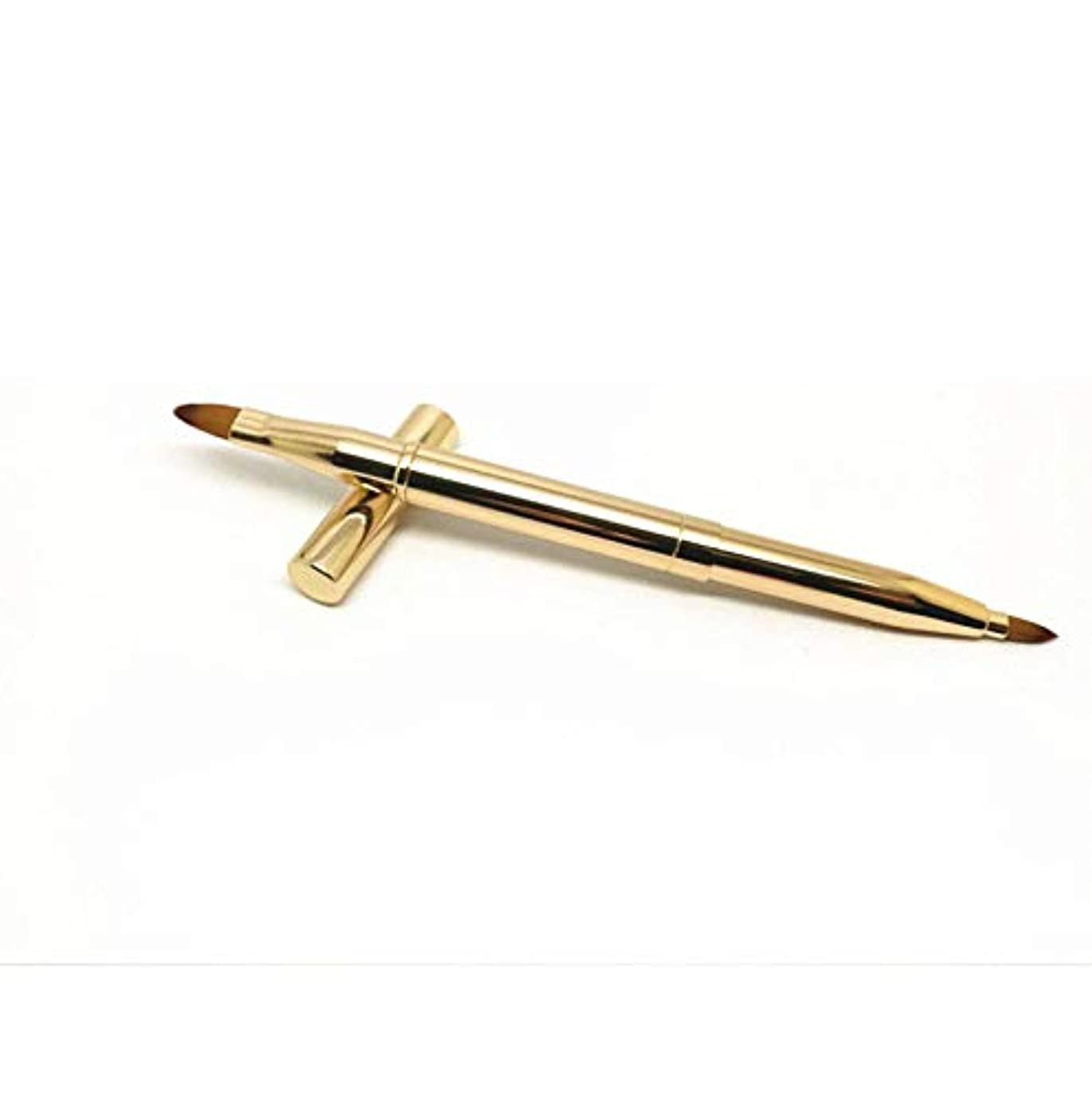 権限自由皿ダブルヘッド自動伸縮ブラシポータブルリップブラシメタルリップブラシ化粧ブラシゴールドリップペンシルツール
