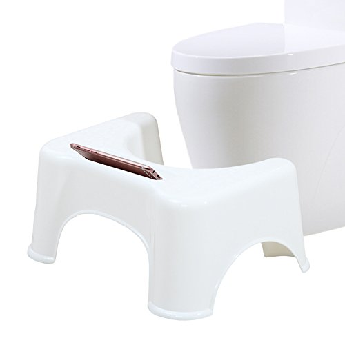 Junsheng トイレ踏み台 便座補助台 子供のトイレトレーニング 洋式トイレ足置き台 携帯電話を置く便秘解消 大人 滑り止め付き 高さ21.5cm (ホワイト)