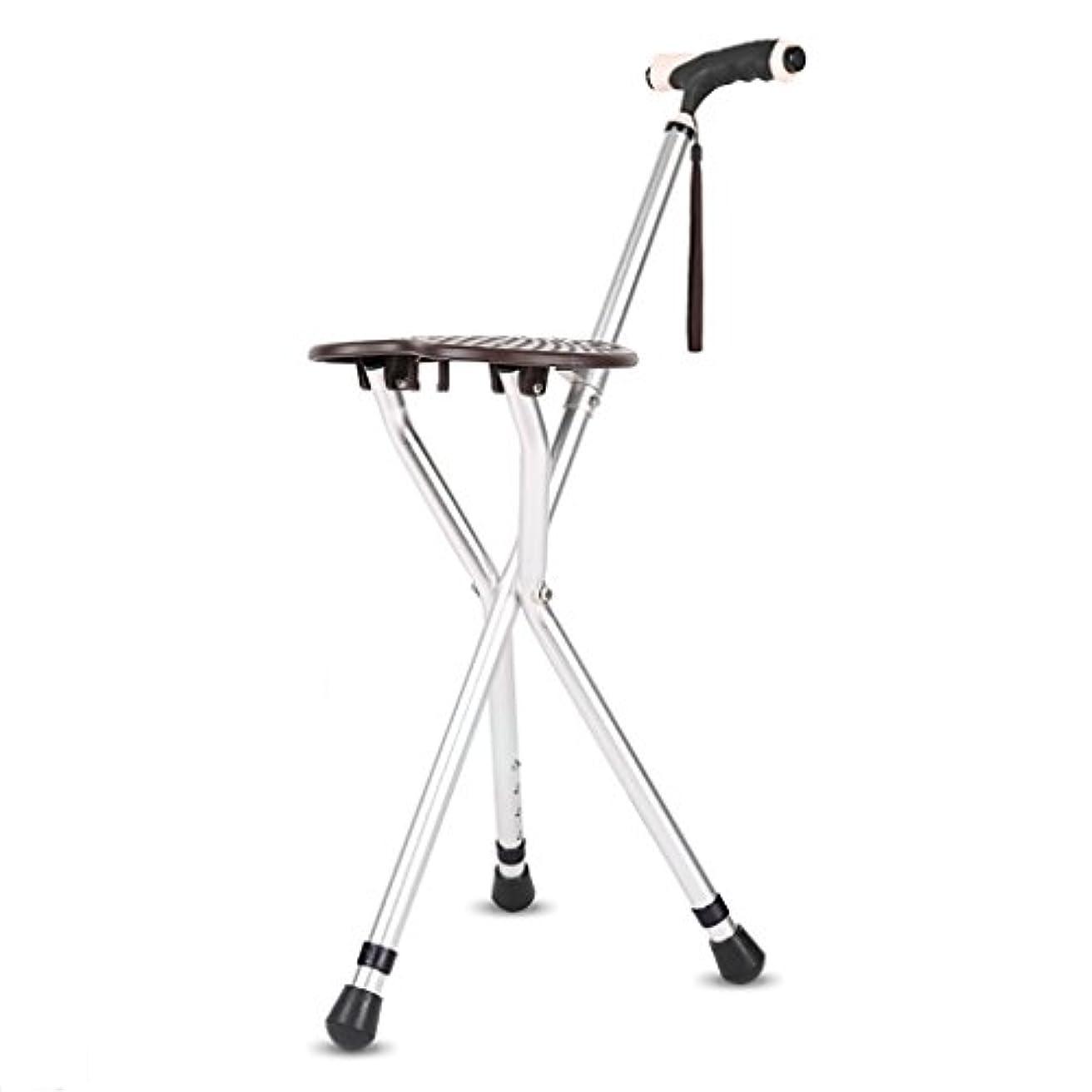変装したスポーツあなたが良くなりますWENJUN 調節可能な伸縮自在の耐衝撃性のある耐久性のある老人の男性用の椅子のスツール4フィートウォーキングスティック老齢の杖多機能調節可能な高さ滑り止め (色 : シルバー しるば゜)