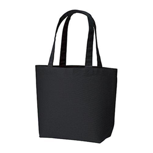 キャンバス トートバッグ(SM)ナチュラル マチあり レディース メンズ 鞄 肩掛け サブバッグ エコバッグ マザーズバッグ シンプル 無地 (ブラック)
