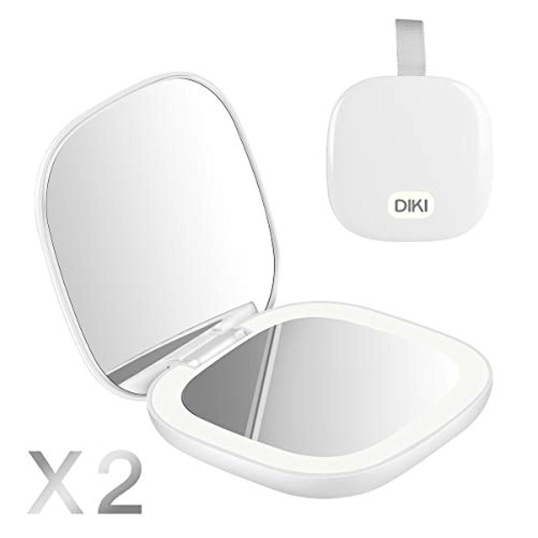 腸でる膨らませるDIKI 化粧鏡 コンパクトミラー 両面メイクアップ LEDライト付き 2倍 拡大 折りたたみ式 USB充電機能 明るさ調節可能 持ち運び便利 旅行用 ミニプレゼント 手鏡