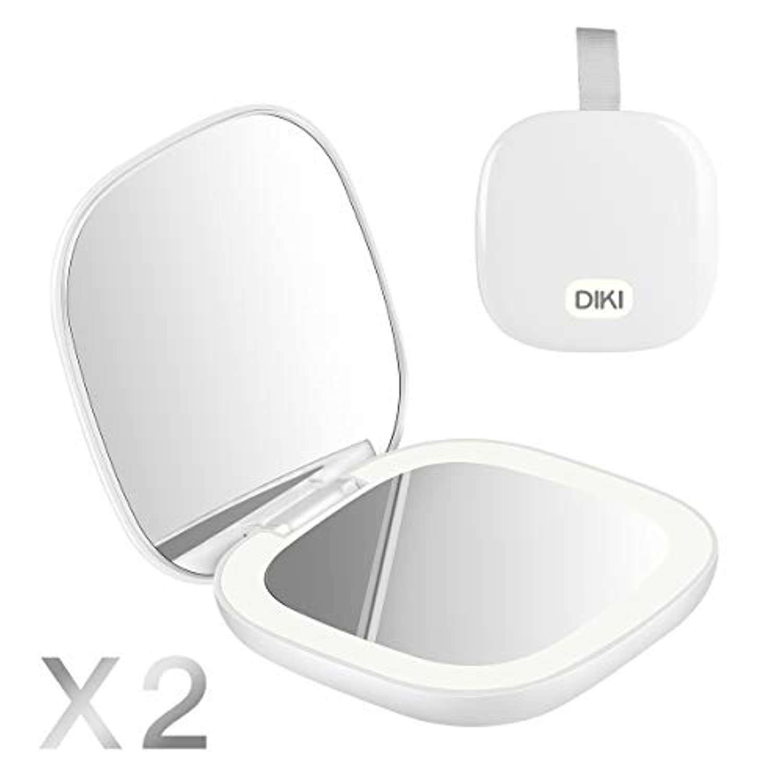 ドット成功謎DIKI 化粧鏡 コンパクトミラー 両面メイクアップ LEDライト付き 2倍 拡大 折りたたみ式 USB充電機能 明るさ調節可能 持ち運び便利 旅行用 ミニプレゼント 手鏡