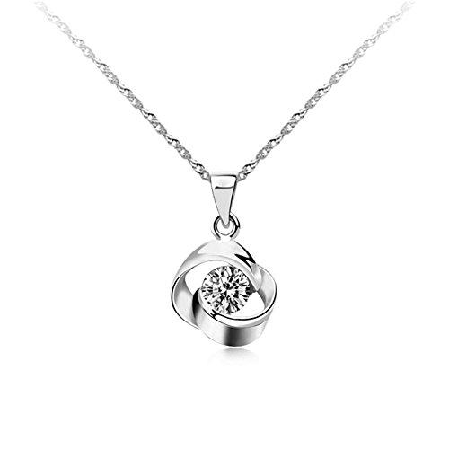 KEISHIN スーパージルコニア採用 925純銀製 1粒CZダイヤモンド ローズモチーフ 45cmネックレス フレンチロープ ペンダント