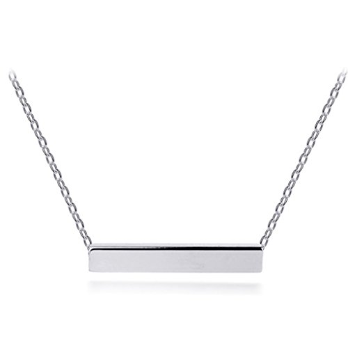 [比翼堂] ネックレス シンプル 「 シンプルデザイン 横棒 」 ステンレス プラチナコーティング 最高級フランネルケース付き ギフト梱包済み (シルバー)