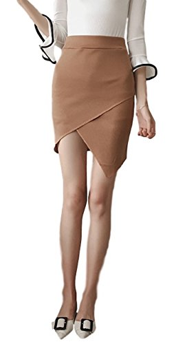 (Sea Believe) SeBeliev Asymmetric fascinated knit skirt tight skirt stretch elegant knee-length commuting office legs