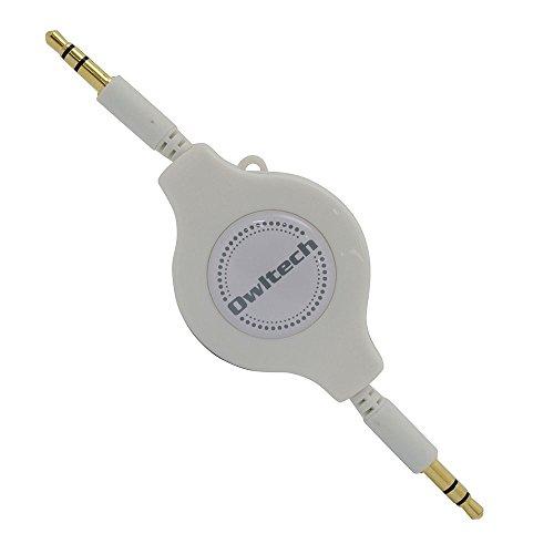 オウルテック オーディオケーブル AUX端子接続用/120cm/巻取型 ホワイト