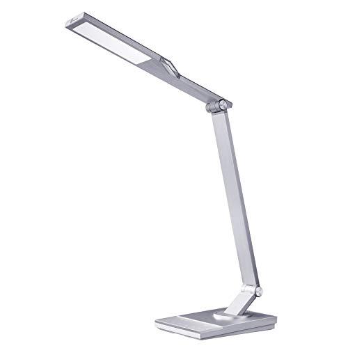 デスクライト TaoTronics LED 目に優しい 電気スタンド 600ルーメン USB充電ポート付 フルメタルデザイン 5種類の色温度 6段階の明るさ タイマー 夜間ライト TT-DL16 (シルバー)