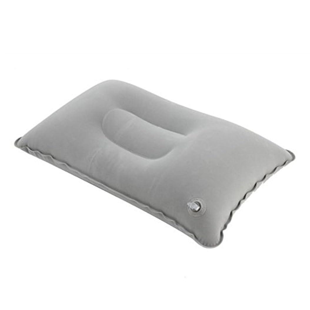 郊外サロン引き渡す屋外走行インフレータブル枕、折りたたみソフトブローアップ枕、車内休憩枕(グレー)