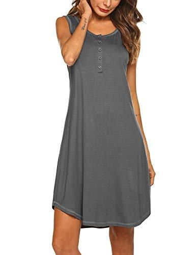 Adornlove Sleepshirts Womens Maternity Nightgowns Soft Knit Sleepwear Sleeveless Nightdress S-XXL - Grey - Medium