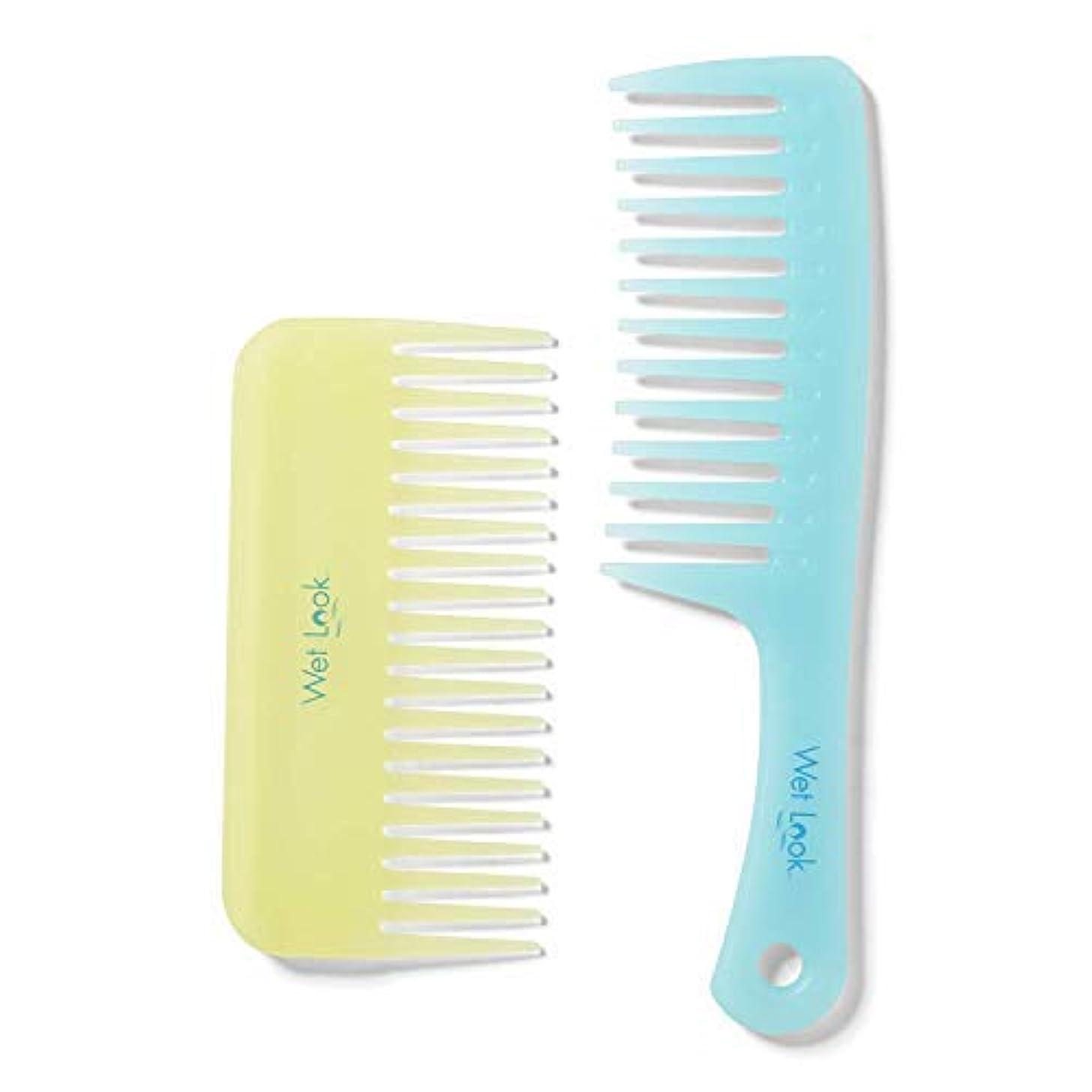形式散るコンパクトWet Look Shower and Wide Tooth Comb Set [並行輸入品]