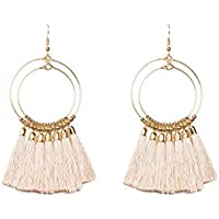 Colette Hayman - Gold Double Beaded Ring Pink Tassel Statement Earrings