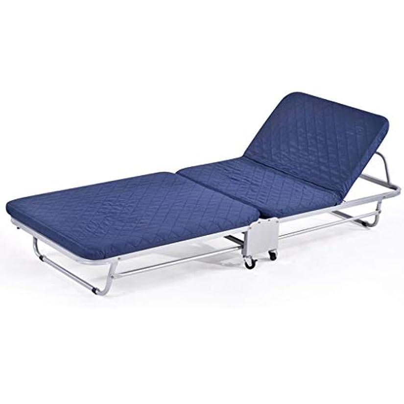 有効化ポーズカポックサンラウンジャー、折りたたみベッド、シングルランチブレイク、家族の仮眠ベッド、オフィスラウンジチェア、二重木の板スポンジベッド、 SAN_Y (Color : Blue, Size : Width 65cm)