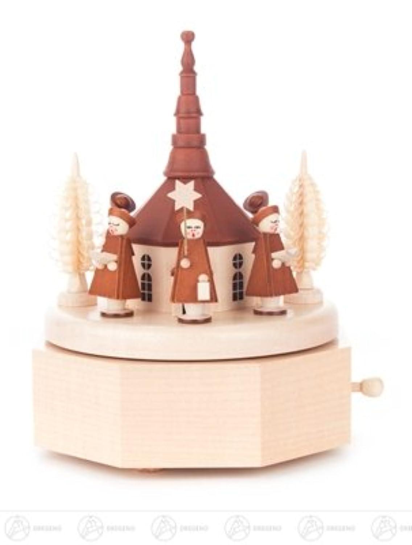 Seiffener 教会が付いているオルゴールのオルゴールおよびキャロルの歌手、図は x の深さ 12 cmx15 cmx12 cm の鉱石山の演劇箱の演劇の時計の幅 X の高さを茶色にします