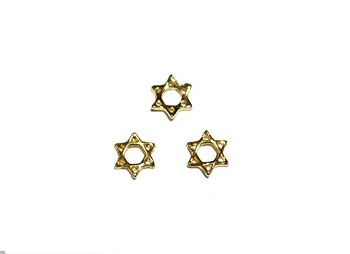 死傷者誤って不道徳【jewel】メタルネイルパーツ ヘキサグラム 5個入 ゴールドorシルバー 六角星型スタッズ ジェルネイル デコ素材 (ゴールド)